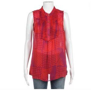Banana Republic sleeveless blouse red purple M